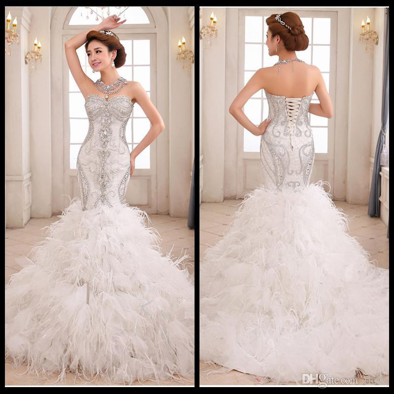 2015 sweetheart crysal feather bling mermaid wedding for Bling corset mermaid wedding dresses