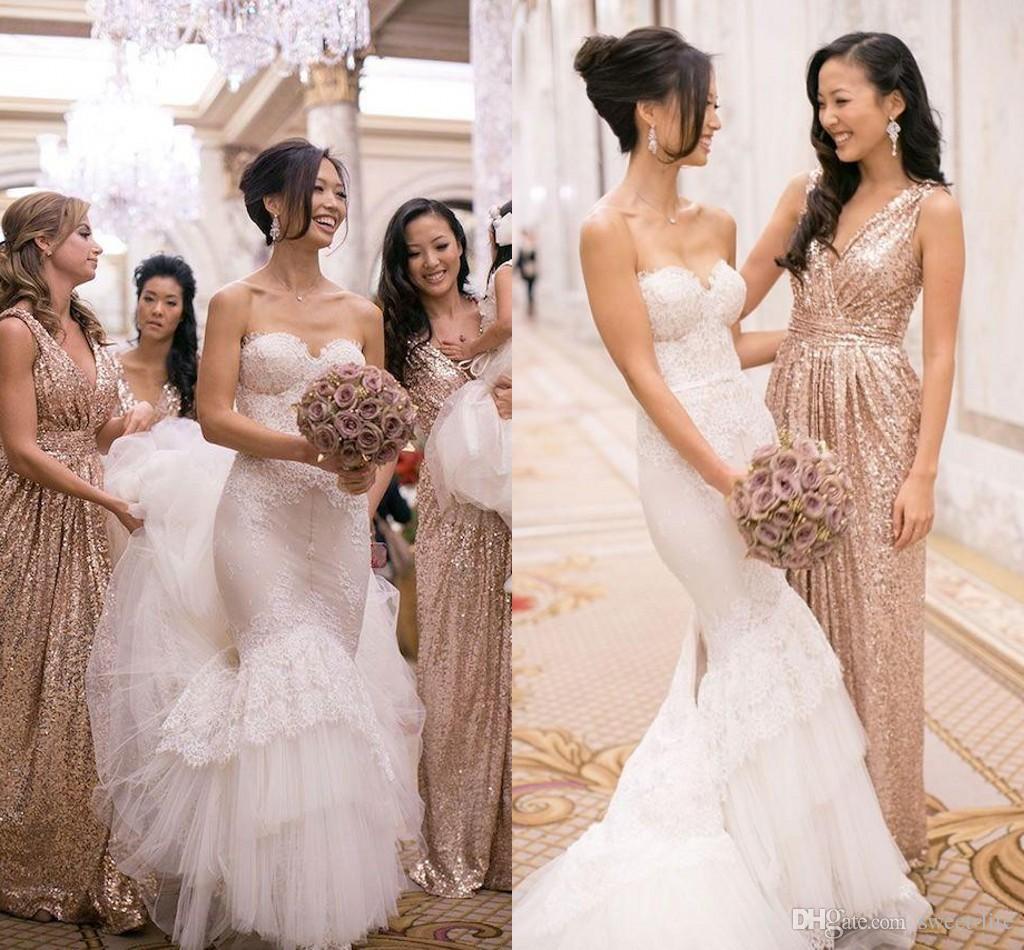 Best Selling 2015 Modern Bridesmaid Dresses Gold Rose Sequins ...