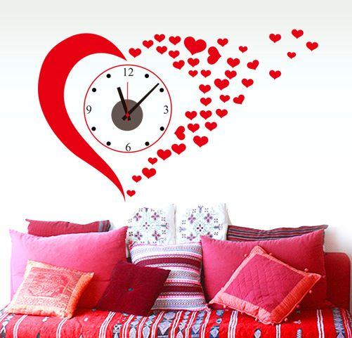 Clock Wall Art red love heart wall art wall clock decal home decoration wall