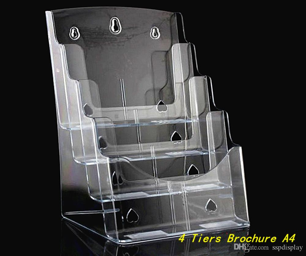 Clear A4 Four Tiers Pamphlet Brochure Literature Plastic Acrylic ...