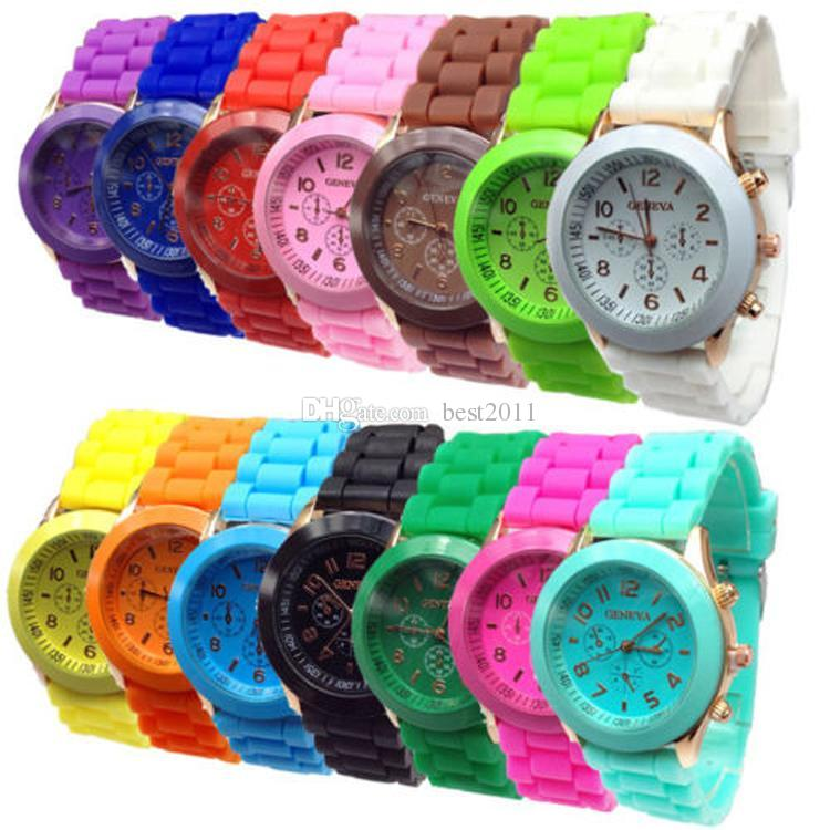 2015 shadow style geneva crystal classic gel silicone lady candy color band with 3eyes watch quartz - Color Watches