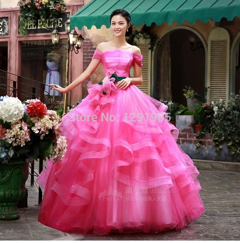 Hot Pink Ruffles Medieval Dress Ball Gown Sissi Princess Medieval ...