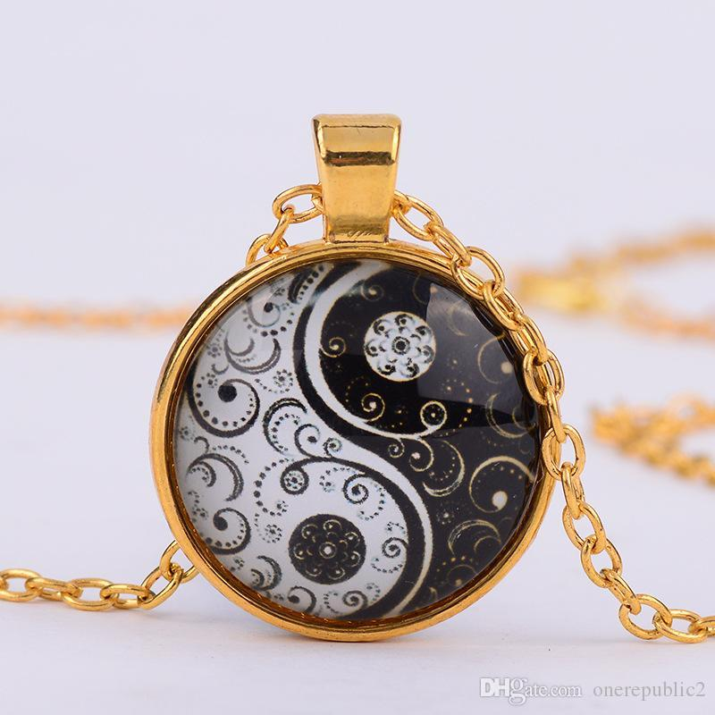 White gold yin yang necklace