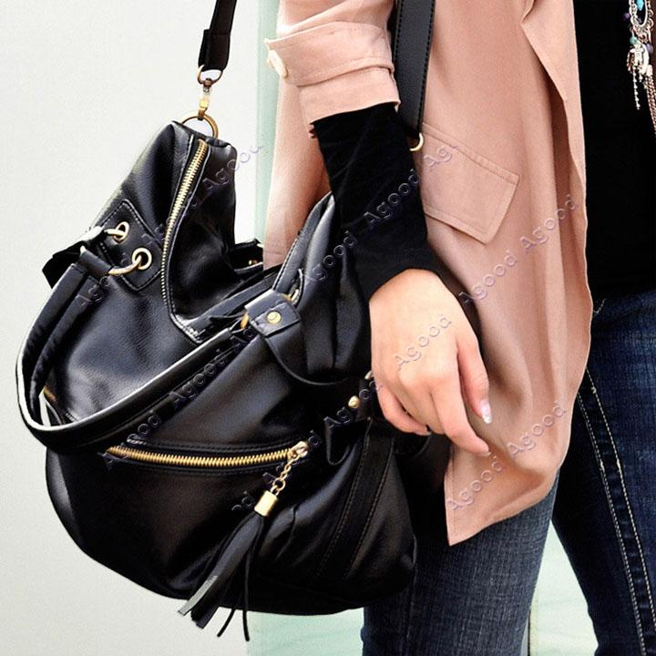 Large Black Leather Shoulder Bag 106