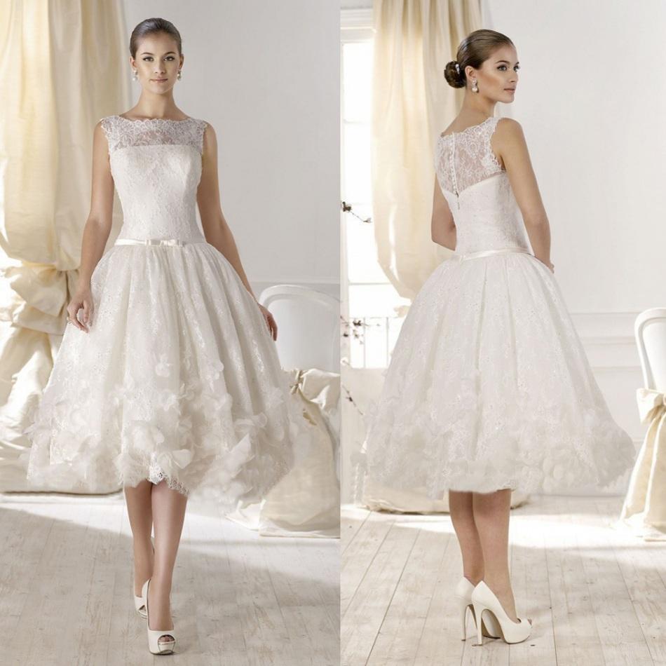 Affordable Wedding Dresses New York : Vintage short wedding dresses tea length cheap sheer lace