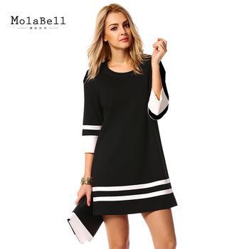 2016 Fashion Elegant Women Ladies Black Dress Loose O-neck Three ...