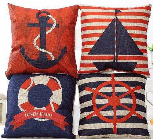 Nautical Throw Pillows Cushion Cover Navy Decorative Pillowcase Red Pillowcases Stripe Home ...