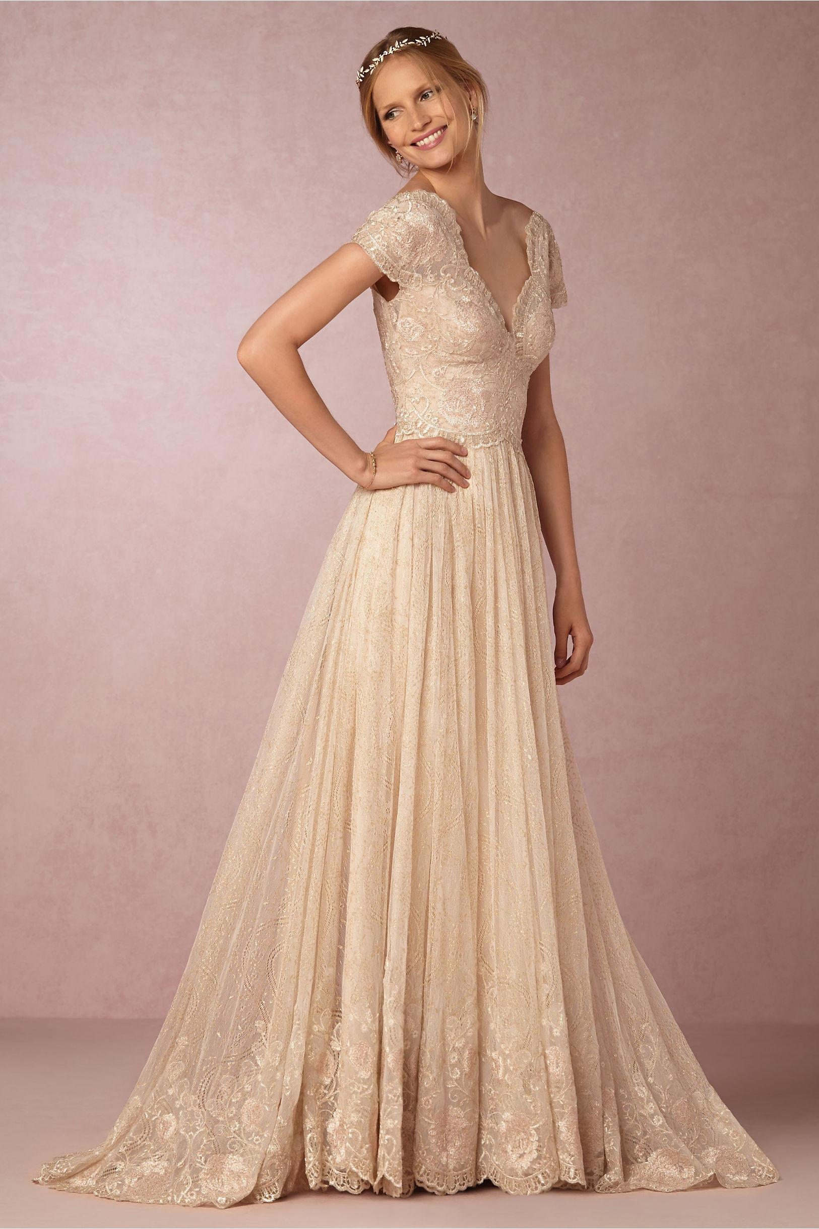 Bhldn 2016 Champagne Wedding Dresses With Cap Sleeves