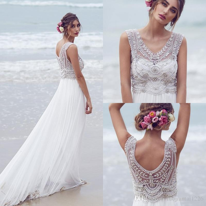 Anna Campbell 2016 Beach Wedding Dresses Beading Crystals