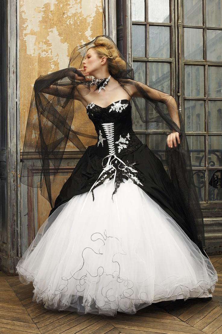 Unique black and white wedding dresses ball gown 2015 for Unique black and white wedding dresses