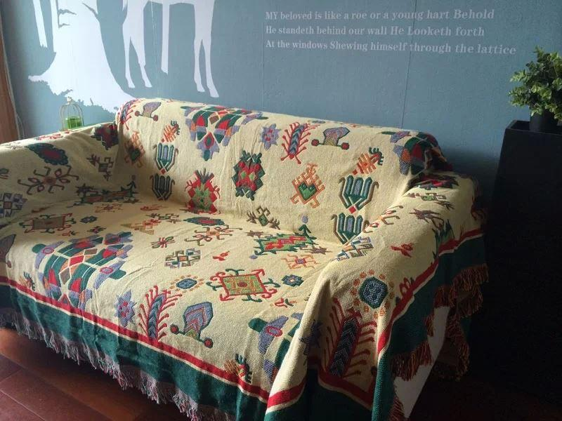 Charming Vintage Woven Soft Sofa Blankets Throws Rugs Sofa Cover Chair