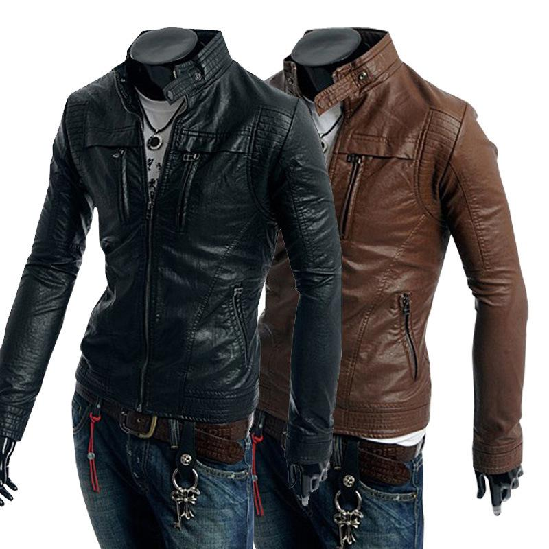 Autumn Clothing Men Leather Jacket Mandarin Collar Mens Jacket