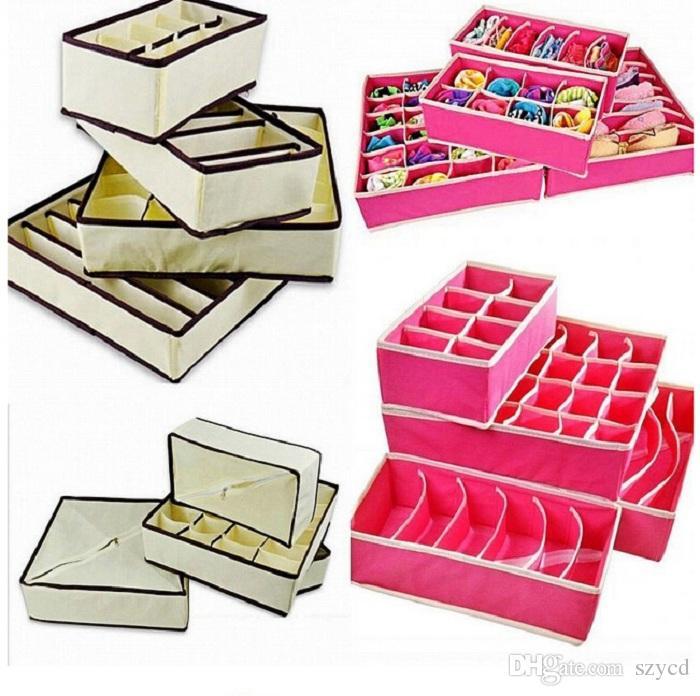 4pcsset home storage socks bra underwear tie storage boxes closet organizers drawer dividers