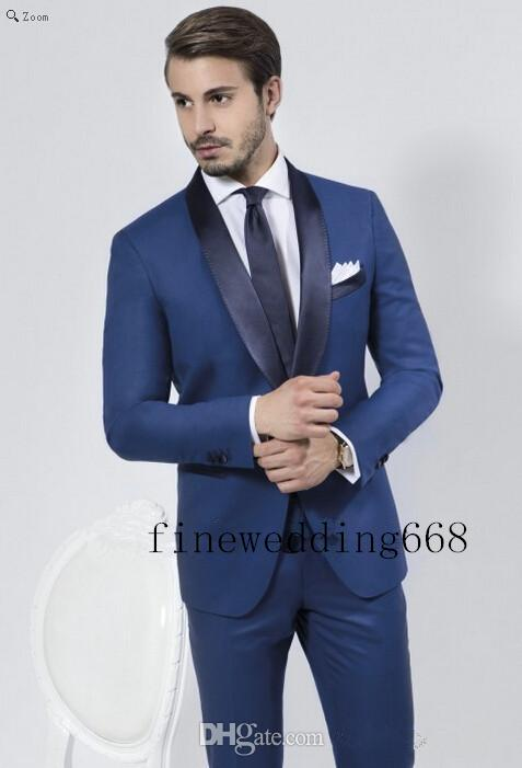 Shawl Collar One Button Navy Blue Groom Tuxedos Suit Men'S Suits ...