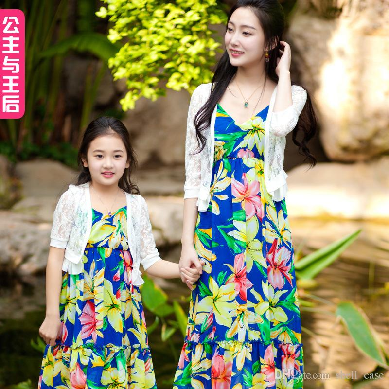 Summer Family Clothing Parent Child Outfit Bohemia Long Dresses Mother Daughter Clothes Matching ...