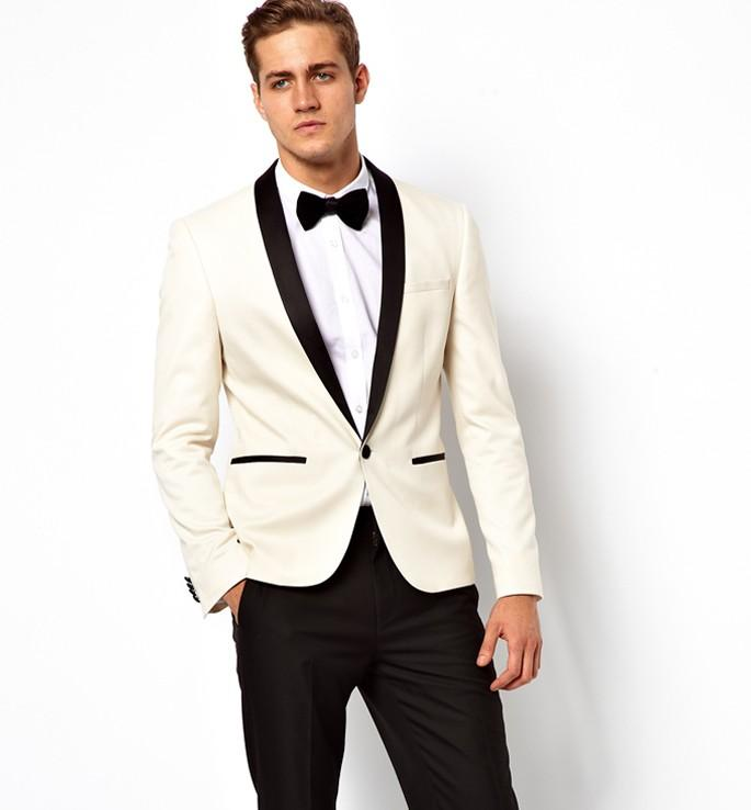2015 White Ivory Wedding Suits For Men Tuxedos Black Satin Shawl