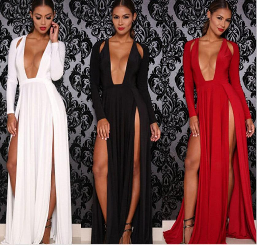 New2World Sexy Femmes Deep V Neck Long Sleeve Split Party Club Maxi Robe