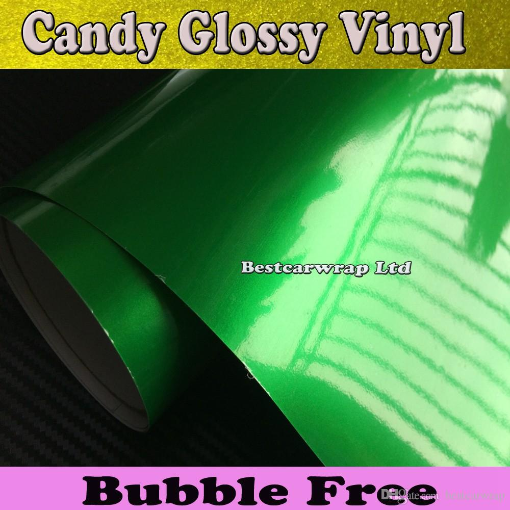 Green Glossy Candy Metallic Vinyl Car Wrapping Film With