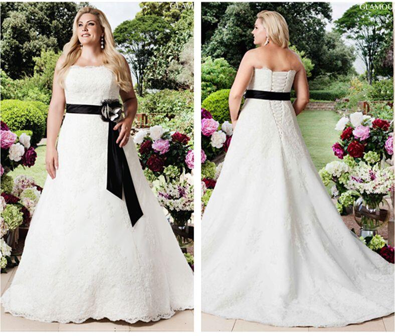 2016 Vintage Black And White Beaded Lace Plus Size Wedding Dresses ...