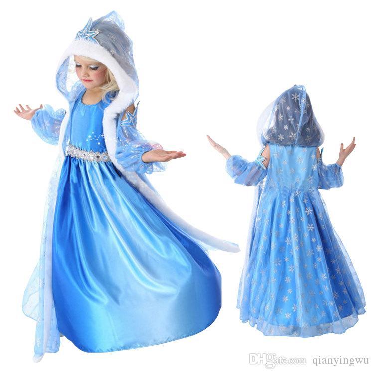 cartoon frozen elsa anna princess dress set halloween costume kids lace gauze long sleeve hooded skirt blue child dress a072533 frozen princess dresses - Halloween Costumes Of Elsa