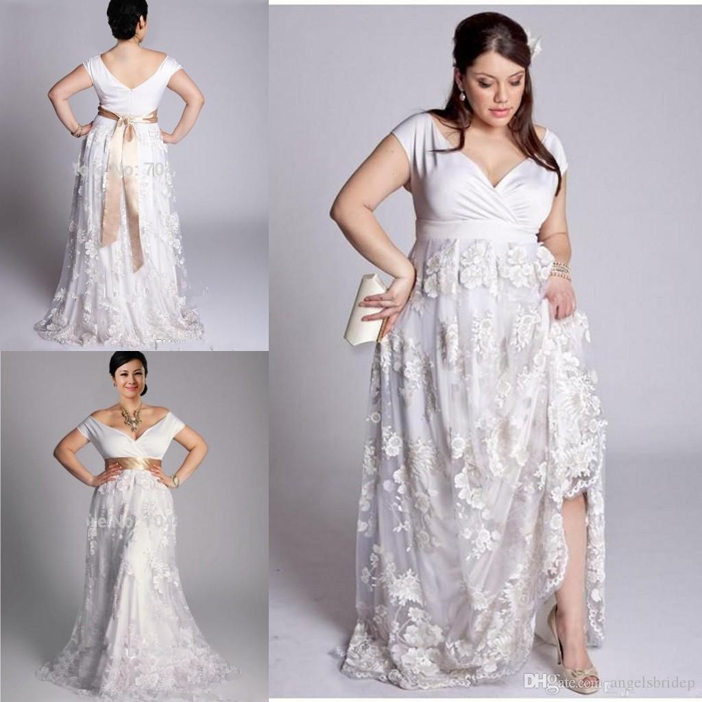 Plus Size 2015 Summer Beach Wedding Dresses V Neck Open Back White Lace Weddi