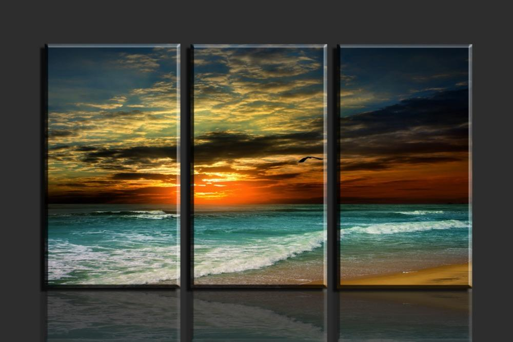 Best Sunrise And Waves 3 Panels Canvas Print Painting Wall