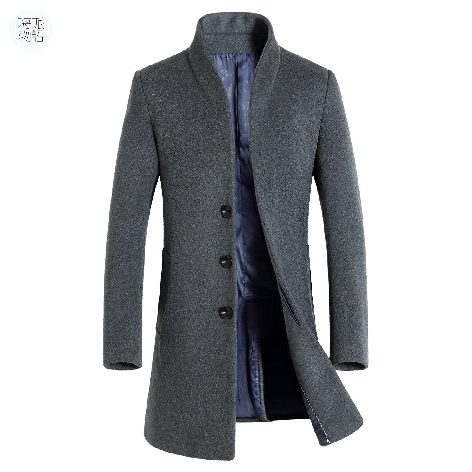 Long Coat Mens Trench Coat Wool Coat Fashion Buckle Woolen Coat ...