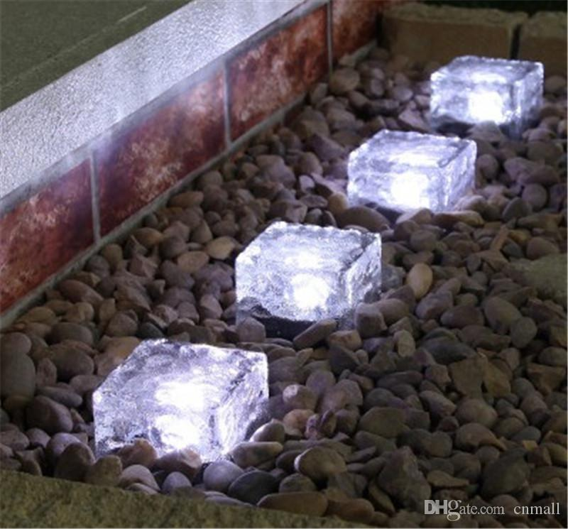2017 Warm /White/Blue/ Rgb Solar Ground Light Solar Powered Crystal Ice  Brick