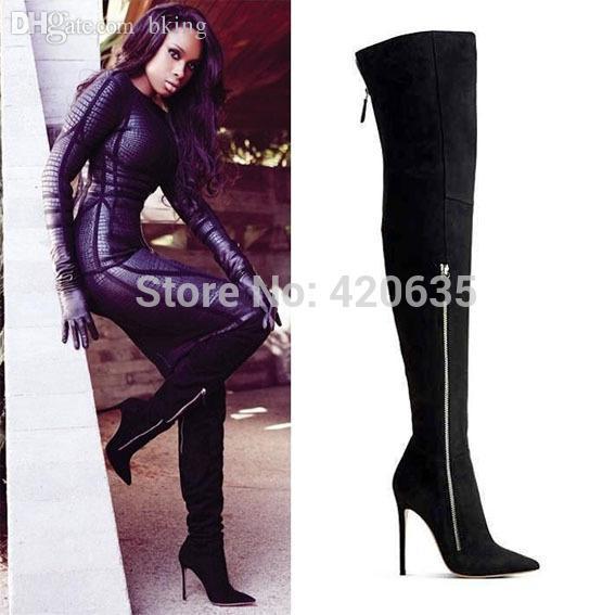 wholesale black suede designer heels pointed toe thigh