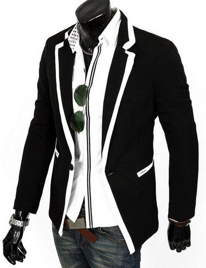 2016 New Men Slim Fit Blazer Casual Men's Suits Coat Black White ...