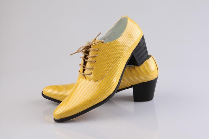 Yellow Dress Shoes Cool Men Prom Shoes Leather Groom Casual Shoes ...