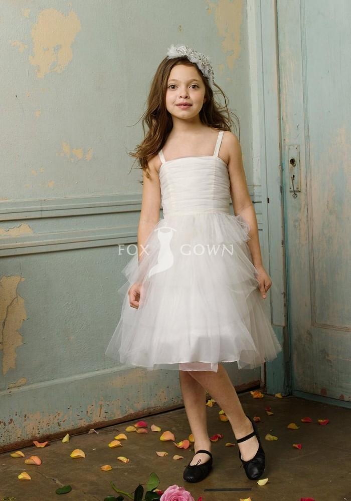 Little Girls Wedding Party Dresses A Line Spaghetti Straps