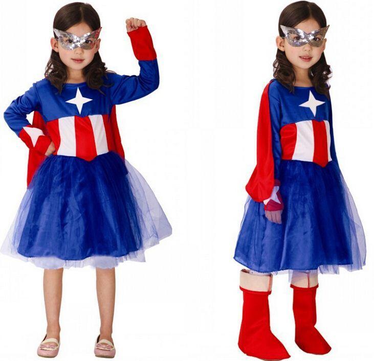 2015 New Arrival Captain America Dress for Kids Girl Halloween ...