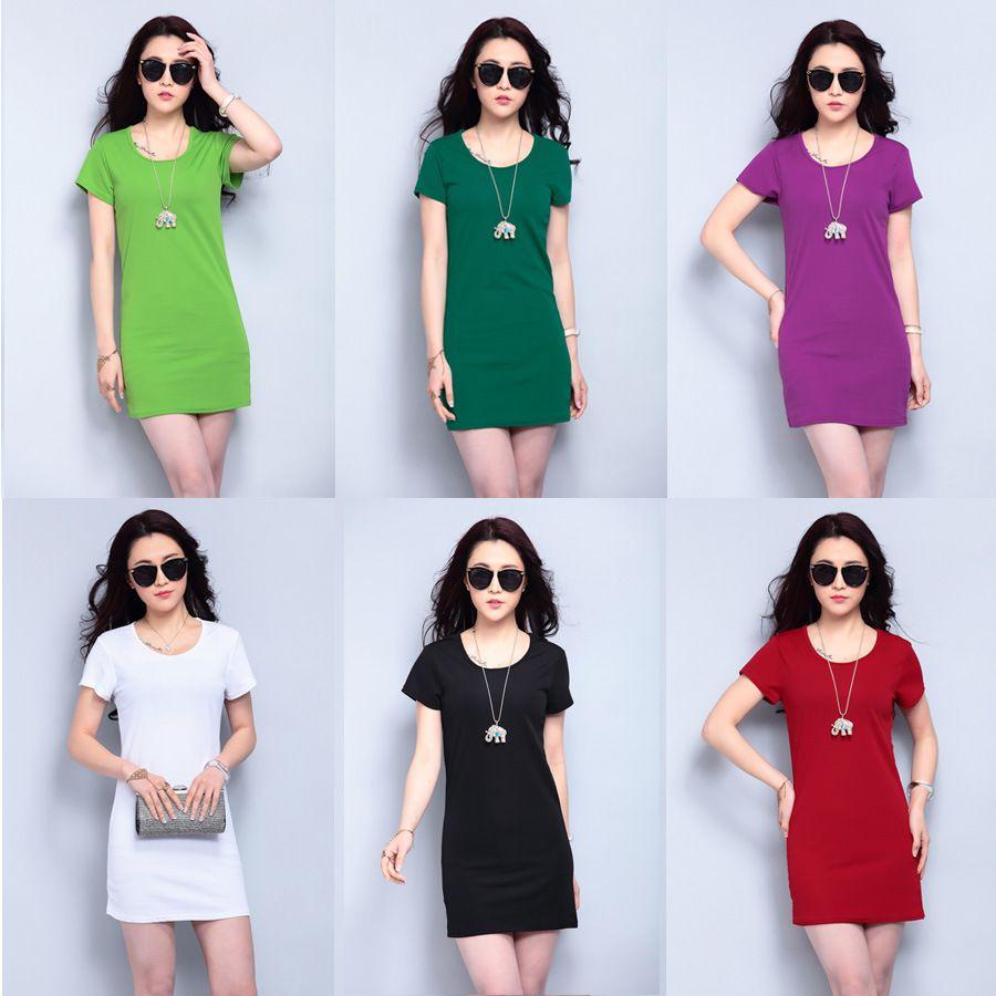 Shirt design womens - 2016 Summer New Design Womens Fashion Solid Long T Shirt Casual Mini Dresses Candy Colors