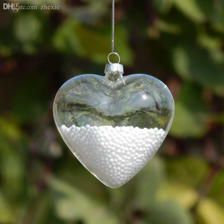 Wholesale cm clear glass heart bauble christmas
