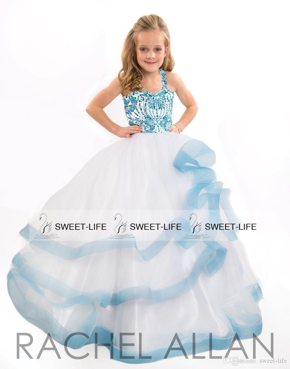 2015 Cute Girls Pageant Dresses Sky Blue Ball Gown Beading Crystal ...