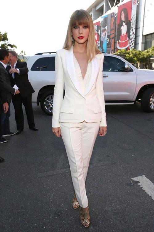 2015 White Taylor Swift Celebrity Women Pant Suits Shawl Lapel