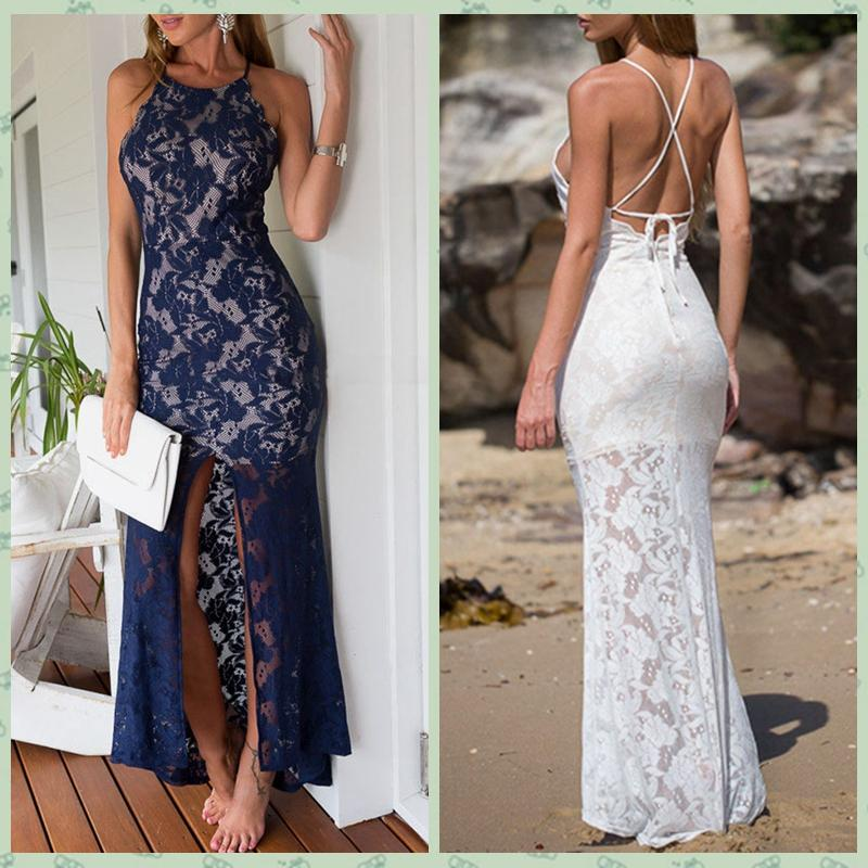 2015 Women Summer Long Dress Blue White Sleeveless Lace Casual ...