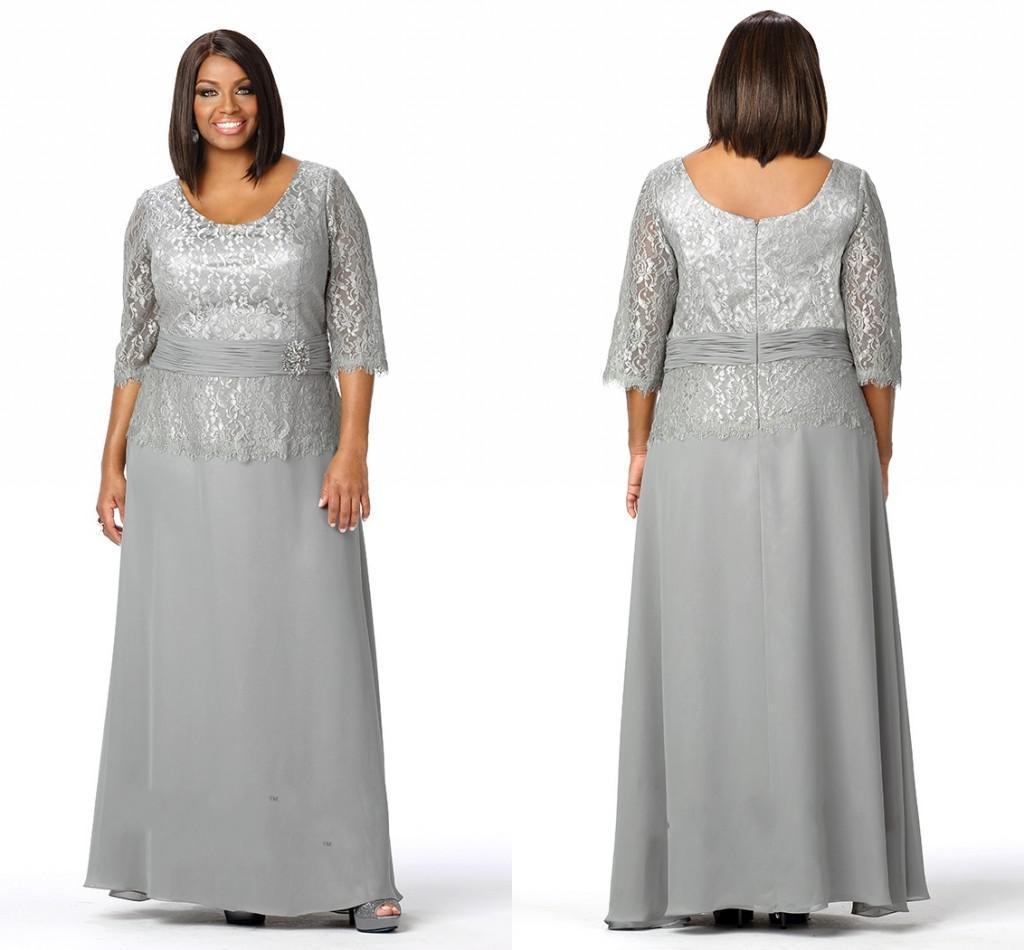 Plus Size Evening Dresses Scoop Neck 3/4 Long Sleeves Silver Lace ...