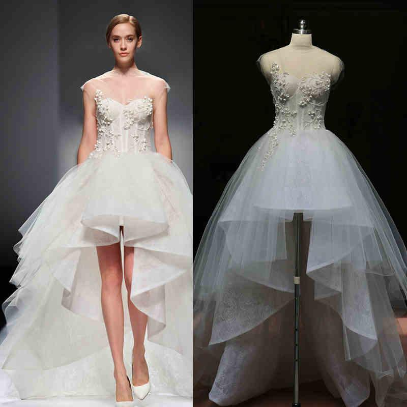Miriya soft tulle sheer hi lo wedding dresses 2015 simple for Hi lo hemline wedding dresses