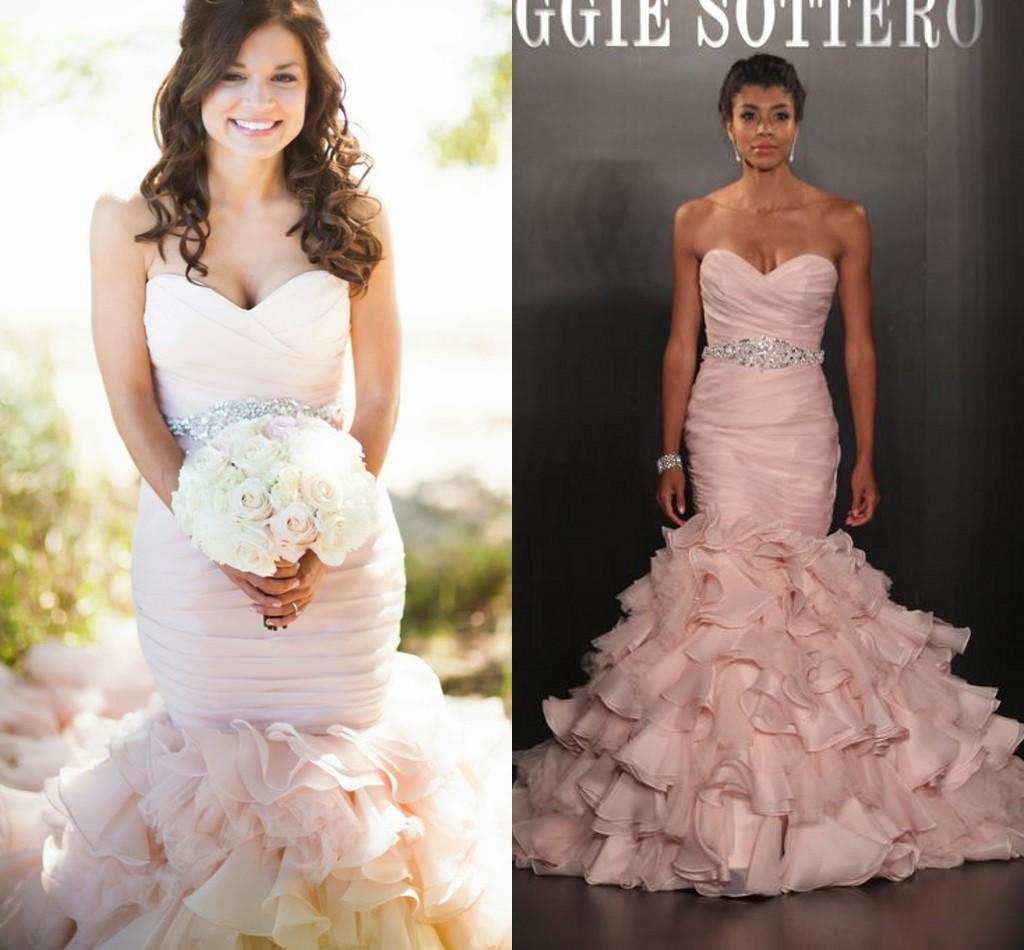 Pink Wedding Dresses Mermaid Style Flouncing Ruffles