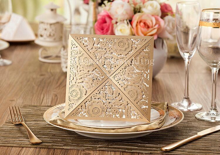 Fast Shipping Wedding Invitations Card Rustic Laser