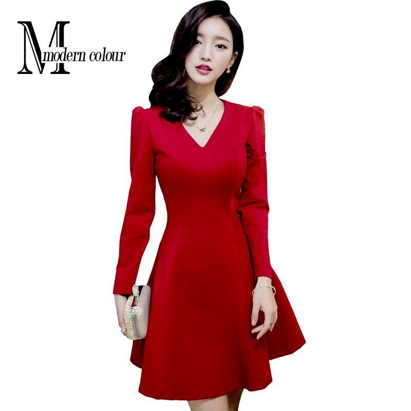 Short Red Dresses For Woman 2016 Autumn And Winter New Fashion V ...