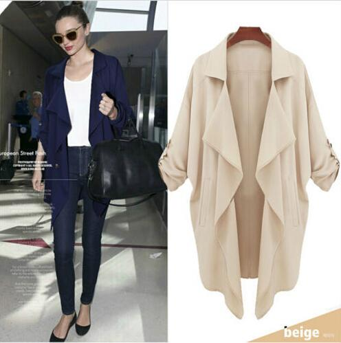 2015 Women Spring Summer Long Trench Coat Outerwear Casual ...