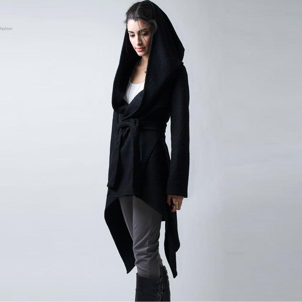 Autumn Winter Hoody Jackets Women Belted Asymmetrical Casual ...