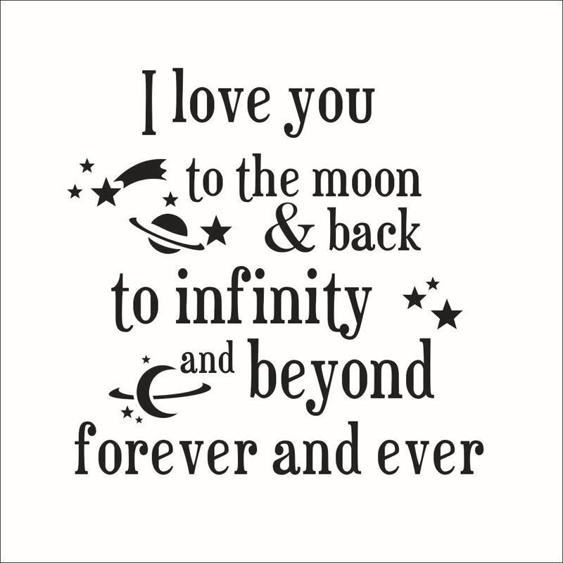 I Love You To The Moon And Back Quotes Wall Stickers New