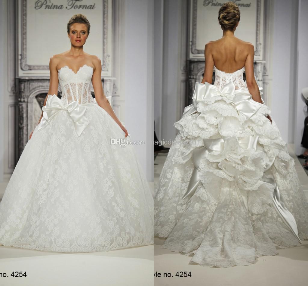 Pnina Tornai 2014 Sheer Backless Wedding Dresses Ball Gown
