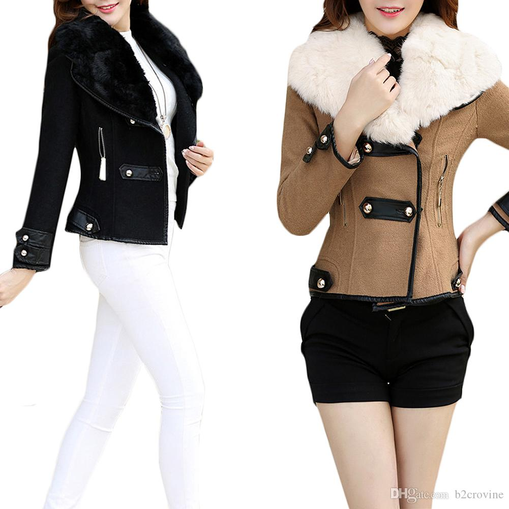 S5Q Womens Winter Jacket Outwear Warm Lady Faux Fur Collar Short ...