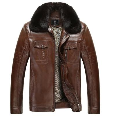 New Winter Warm Fur Collar Leather Jackets for Men Coat Faux Leather Fashion Jackets For Men Fashion Leisure Coats Long Sleeve Plus Large Online with