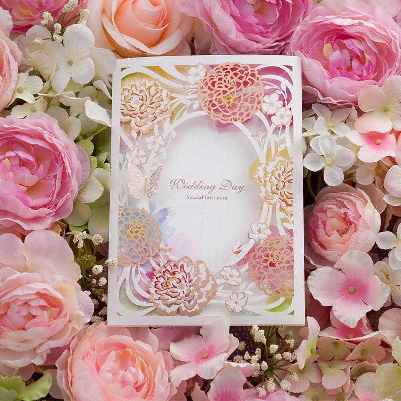 Flower Collection Elegant Wedding Invitations Cards Map Print – Embossed Invitation Cards